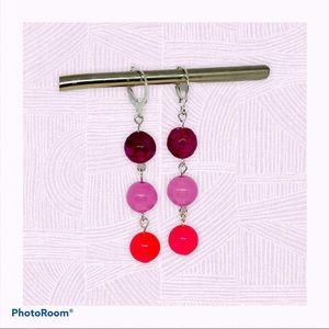 Cascading Agate Earrings, Pink Beaded Dangles
